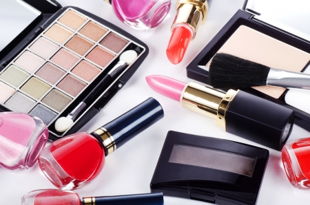 Assortment of cosmetic means for decorative make-up photo