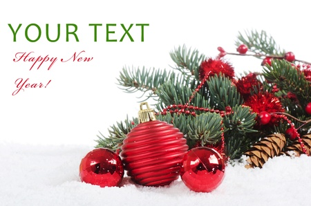 pine wreath: The christmas and New Year Border  isolated Stock Photo