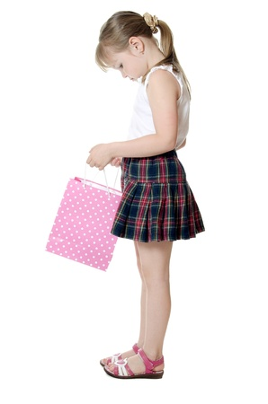 The little girl with a Pink package photo