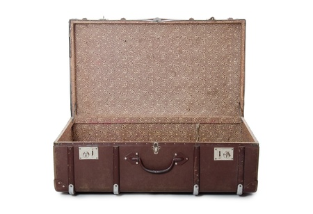 Open old suitcase isolated on white background