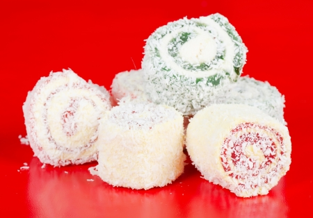 turkish delight on red background photo