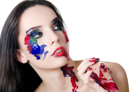 face paint: Beautiful woman with a paint on face