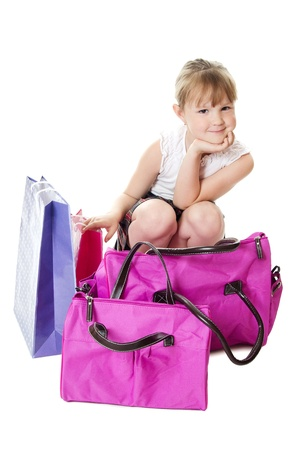 The little girl with a lilac bag photo