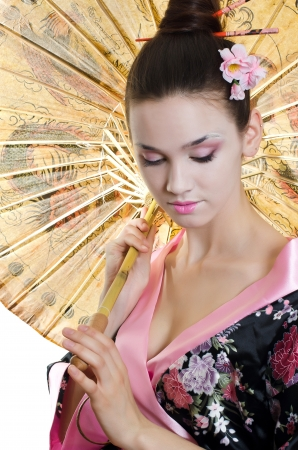 kimono: The beautiful girl with make-up of Japanese Stock Photo