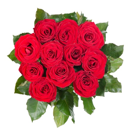 Bouquet of red roses isolated on white photo