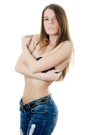 Portrait of girl in jeans and underwear photo