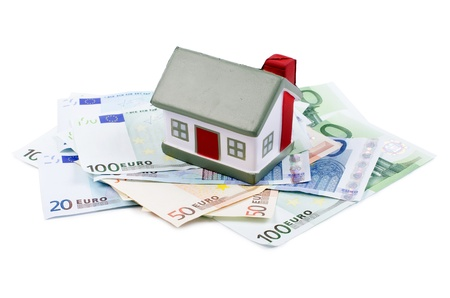 The toy house for euro banknotes isolated Stock Photo - 14822627