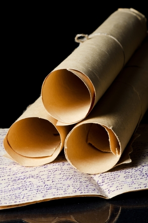 ancient scroll: Many ancient scrolls on a black background
