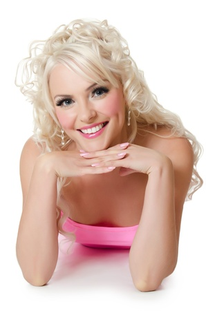 The beautiful woman blonde with doll make-up photo