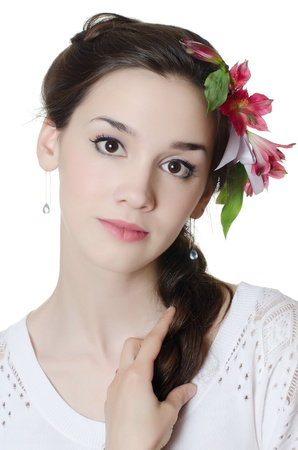 Portrait of girl with flowers in hair Stock Photo - 14874212