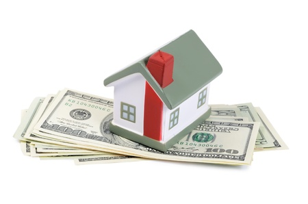 toy house for dollar banknotes as background Stock Photo - 15381360