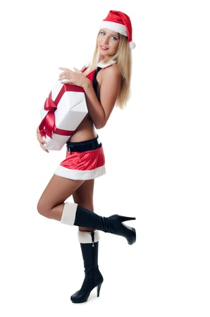 santa girl: The Christmas girl with boxes of gifts