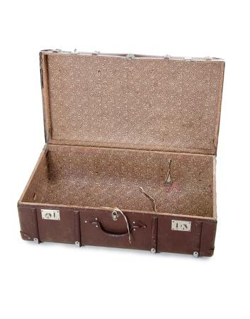 Open old suitcase isolated on white background photo