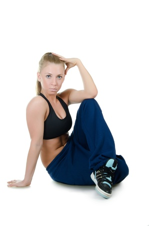 The girl the trainer on dances isolated Stock Photo - 15599264