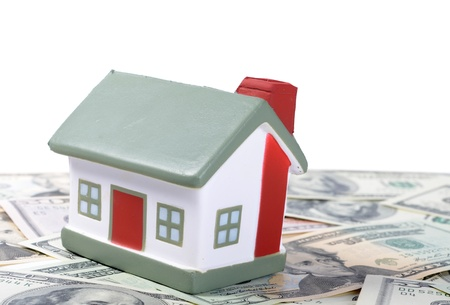 toy house for dollar banknotes as background Stock Photo - 15601068