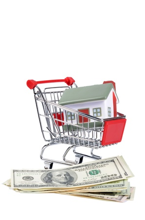 toy house for dollar banknotes as background Stock Photo - 15601064