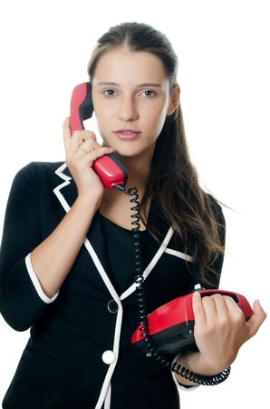 telephony: Businesswoman speaks on phone isolated on white
