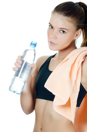 face work: Sports girl with towel and water bottle