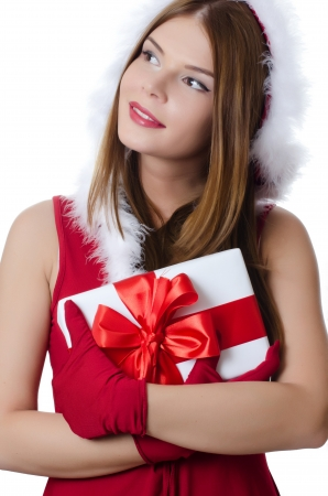 surprise face: The Christmas girl with boxes of gifts
