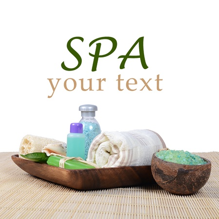 Set for spa-procedures on a bamboo rug photo