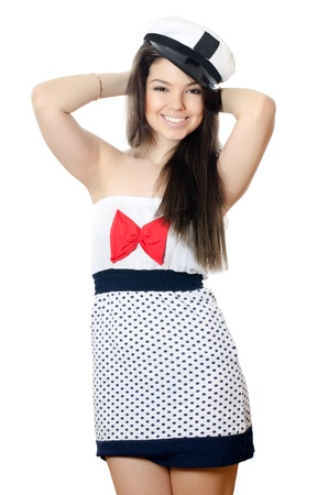 sailor girl: The sailor girl isolated on white background