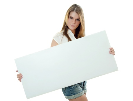 exhibiting: The beautiful girl with banner in hands