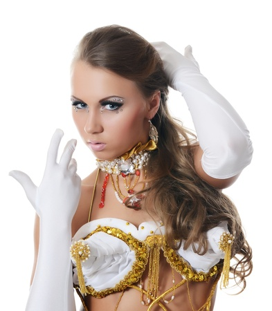 sexy costume: The girl-dancer in costume of the empress Stock Photo
