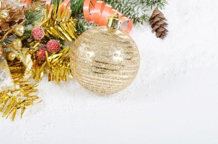 green christmas lights: Christmas and New Year Border on snow Stock Photo