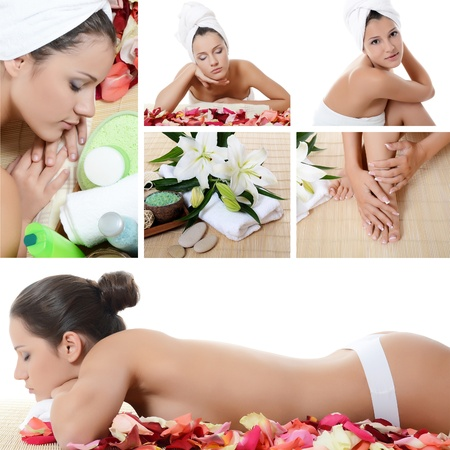 nude nature: Spa beautiful Woman . Collage