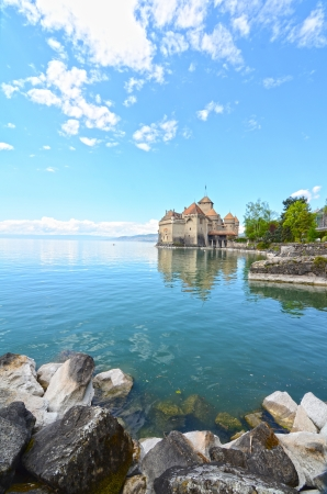 Chillon Castle at Geneva lake in Switzerland. photo