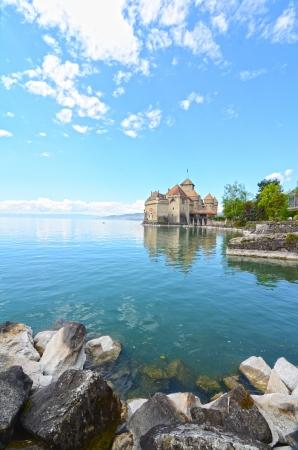 chillon: Chillon Castle at Geneva lake in Switzerland. Stock Photo