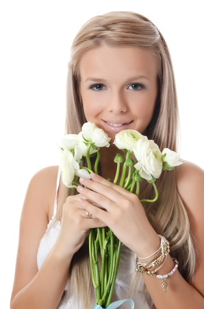 Girl with beautiful hair with white flower Stock Photo - 16638495