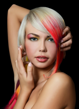 piercing: Woman with bright make-up and multi-coloured strand in hair