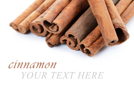 The sticks cinnamon isolated on white background Stock Photo - 17405089