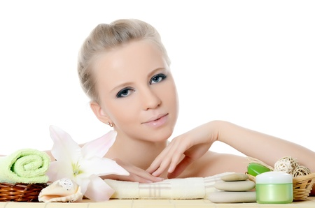 Spa beautiful Woman on a bamboo rug Stock Photo - 17498228