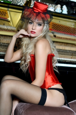 stockings woman: The beautiful woman in a retro style