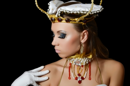 The girl-dancer in costume of the empress Stock Photo - 17408676