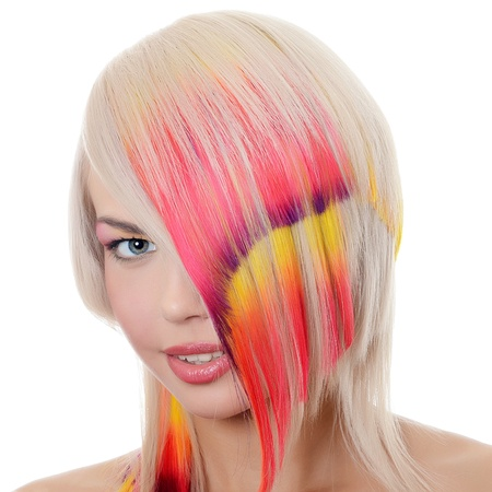 Woman with bright make-up and multi-coloured strand in hair Stock Photo - 17498290