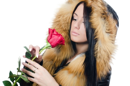 Girl with beautiful hair with red rose Stock Photo - 17574228