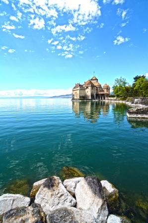 Chillon Castle at Geneva lake in Switzerland. Editorial