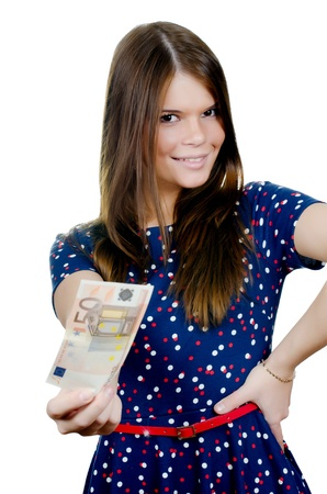 The beautiful girl with euro banknotes isolated Stock Photo - 17643485