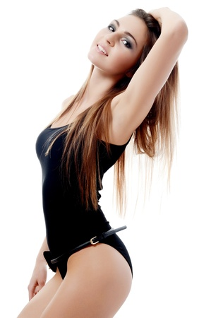 The beautiful woman with long hair isolated Stock Photo - 17643459