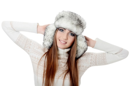 Beautiful girl in hat isolated on white Stock Photo - 17643467