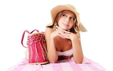 bathing   suit: Portrait of the girl in beach hat