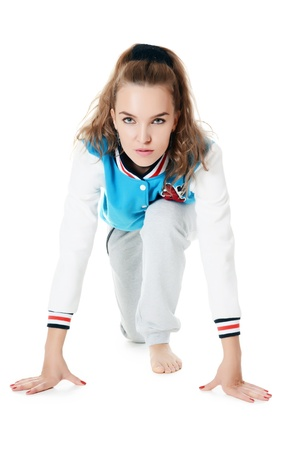 The woman in a sports suit isolated photo
