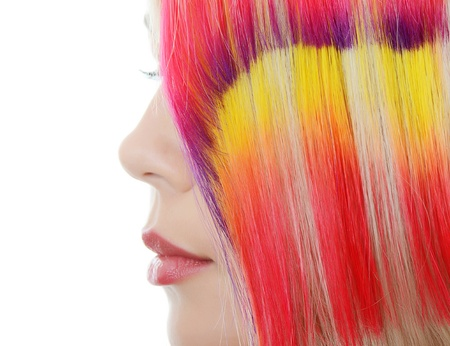 strand of hair: Beautiful woman with  multi-coloured strand in hair