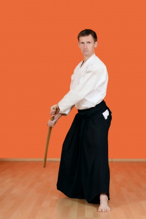 kendo: The man carries out exercises aikido Stock Photo