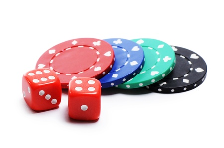 gambling chip: Poker chip and cubes isolated on white Stock Photo