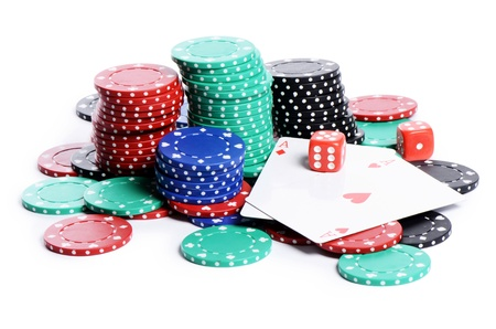 poker chip: double aces with big stack and dice