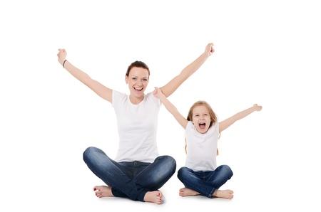 Mum mit einer Tochter auf weißem Hintergrund Lizenzfreie Bilder